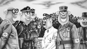 Nazi Potato Heads. 2010, 23 x 40 cm, gouache on paper.