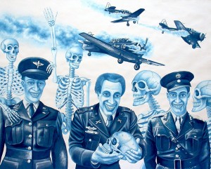 Military Plane Crash. 2012, 60 x 75 cm, cyanotype print,  gouache and casein on paper.