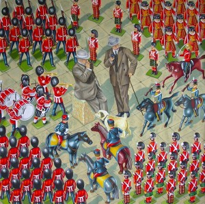 Military Rendezvous. 2014, 140 x 140 cm, gouache on paper.