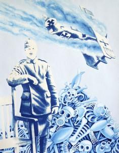 Military Bones. 2014, 35 x 28 cm, cyanotype print, casein and gouache on paper.