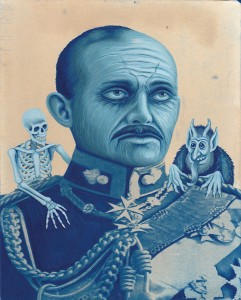 The Tired General. 2014, 25 x 20 cm, cyanotype print and gouache on paper.