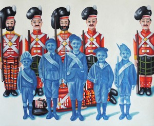 Boy Soldiers. 2014, 28 x 34 cm, cyanotype print, gouache and casein on paper.