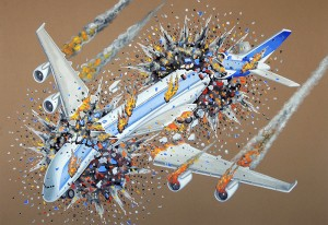 Flying in Formation on a Fine Day VIII. 2015, 70 x 100 cm, gouache on paper.